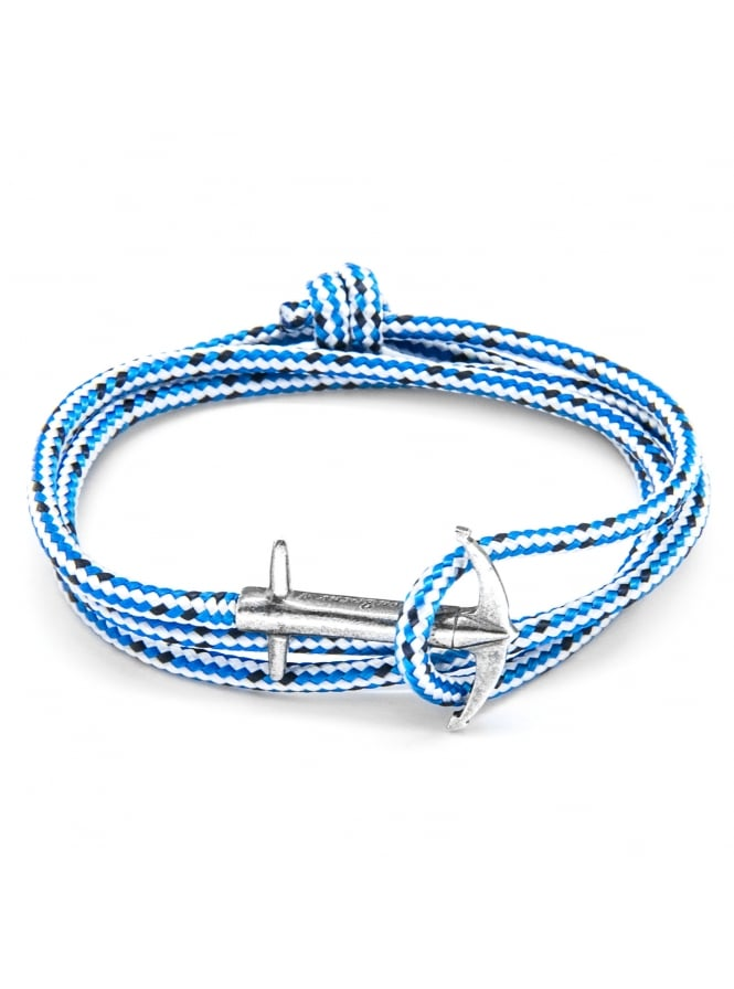 Anchor & Crew Admiral Blue Dash Sterling Silver and Rope Bracelet