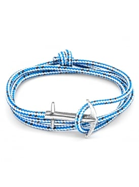 Admiral Blue Dash Sterling Silver and Rope Bracelet
