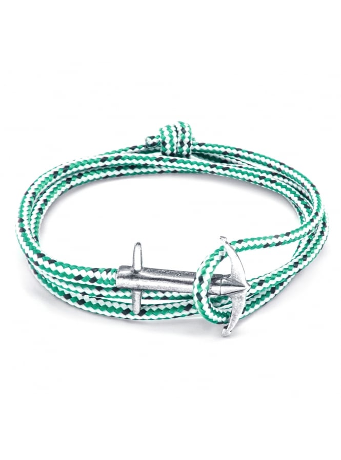 Anchor & Crew Admiral Green Dash Sterling Silver and Rope Bracelet