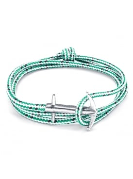 Admiral Green Dash Sterling Silver and Rope Bracelet