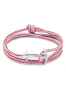 Admiral Red Dash Sterling Silver and Rope Bracelet