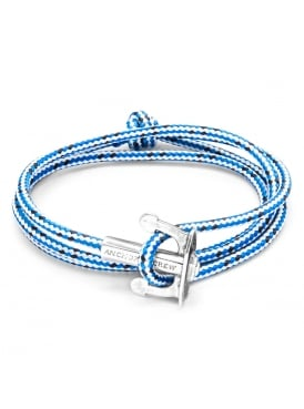 Union Blue Dash Sterling Silver and Rope Bracelet