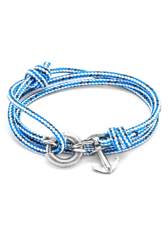 Anchor & Crew Clyde Blue Dash Sterling Silver and Rope Bracelet