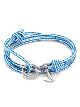 Anchor and Crew Clyde Blue Dash Sterling Silver and Rope Bracelet
