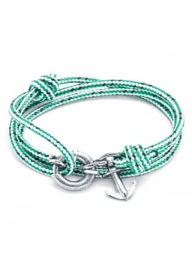 Clyde Green Dash Sterling Silver and Rope Bracelet