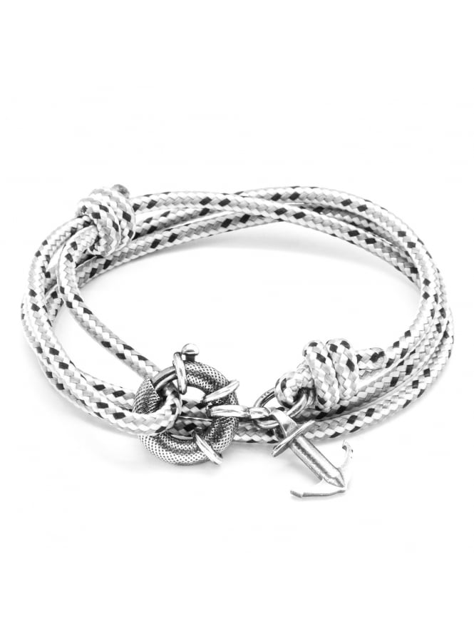 Anchor & Crew Clyde Grey Dash Sterling Silver and Rope Bracelet