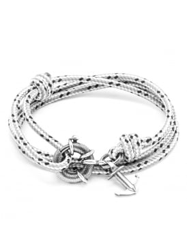 Anchor and Crew Clyde Grey Dash Sterling Silver and Rope Bracelet