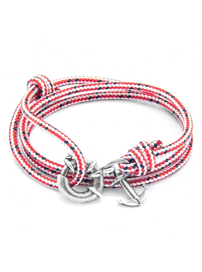 Anchor & Crew Clyde Red Dash Sterling Silver and Rope Bracelet