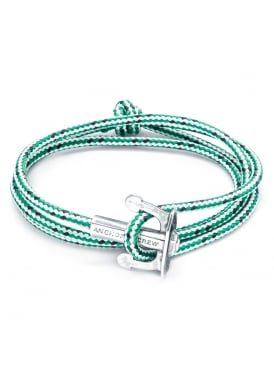 Union Green Dash Sterling Silver and Rope Bracelet
