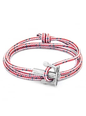 Union Red Dash Sterling Silver and Rope Bracelet
