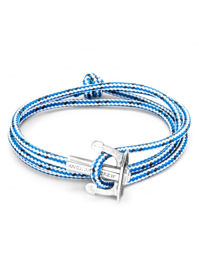 Anchor & Crew Union Blue Dash Sterling Silver and Rope Bracelet