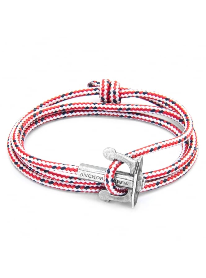 Anchor & Crew Union Red Dash Sterling Silver and Rope Bracelet