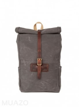 Gray 22 Ounce Waxed Cotton Twill Roll Top Rucksack