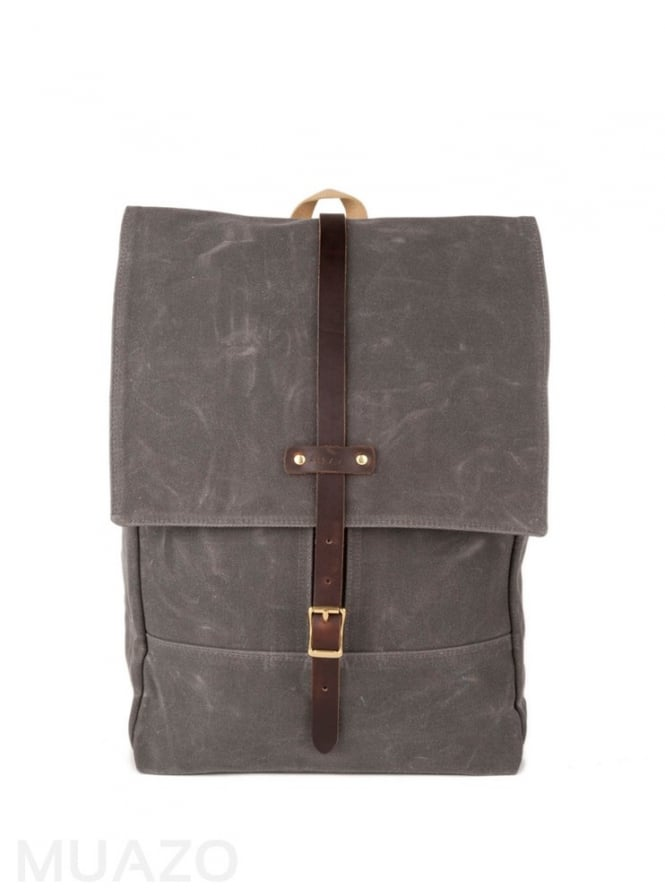 Archival Clothing Gray 22 Ounce Waxed Cotton Twill Rucksack