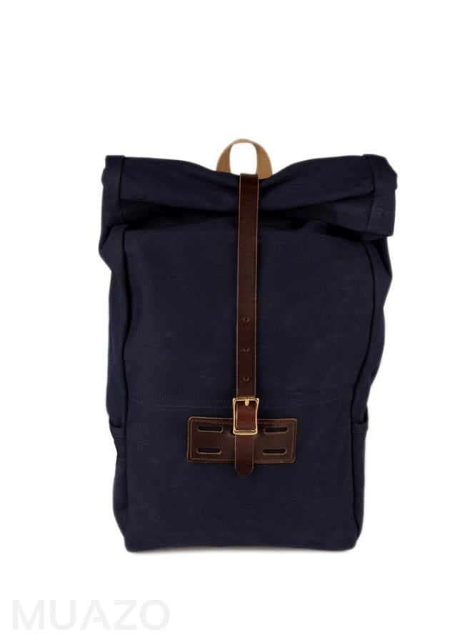 Archival Clothing Navy 22 Ounce Waxed Cotton Twill Roll Top Rucksack