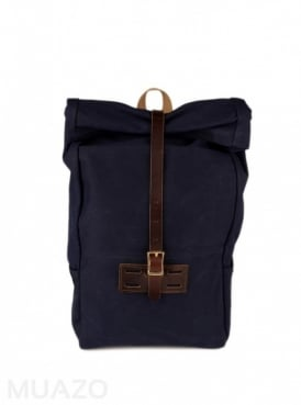 Navy 22 Ounce Waxed Cotton Twill Roll Top Rucksack