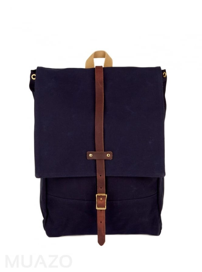 Archival Clothing Navy 22 Ounce Waxed Cotton Twill Rucksack