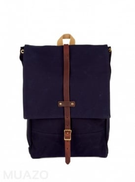 Navy 22 Ounce Waxed Cotton Twill Rucksack