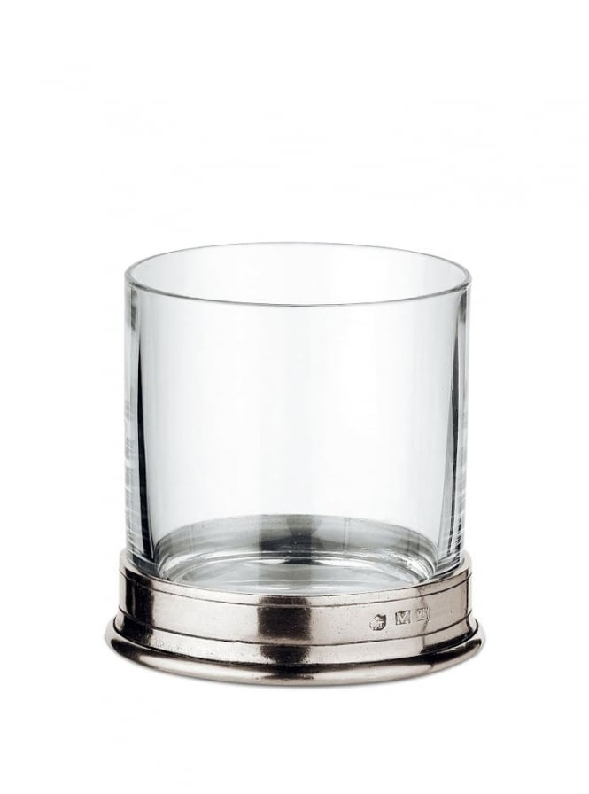 Cosi Tabellini Italian Pewter Sirmione Crystal Double Rocks Glasses Set of 2