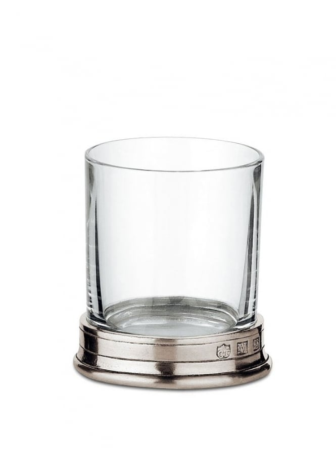 Cosi Tabellini Italian Pewter Sirmione Crystal Shot Glasses Set of 2