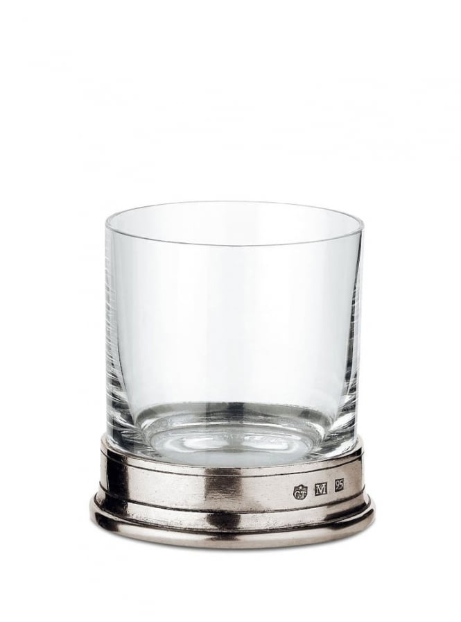 Cosi Tabellini Italian Pewter Sirmione Crystal Whisky Glasses Set of 2