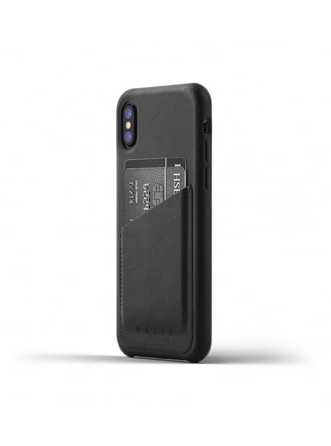 Mujjo iPhone X Black Leather Case Wallet