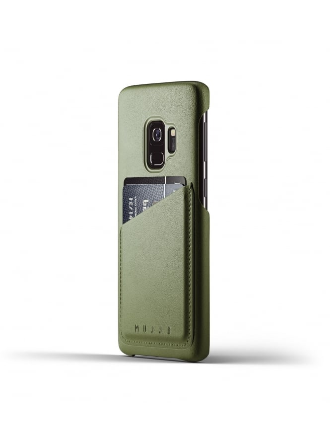 Mujjo Samsung Galaxy S9 Olive Leather Case Wallet