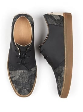 Davis Ash Black Canvas and Leather Lace Up Shoe