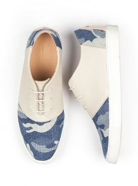 Davis Blue Canvas and Leather Lace Up Shoe
