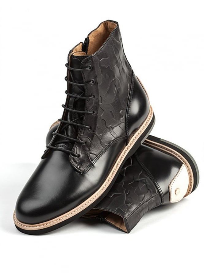 Thorocraft Hutchinson Black Leather Lace Up Boot