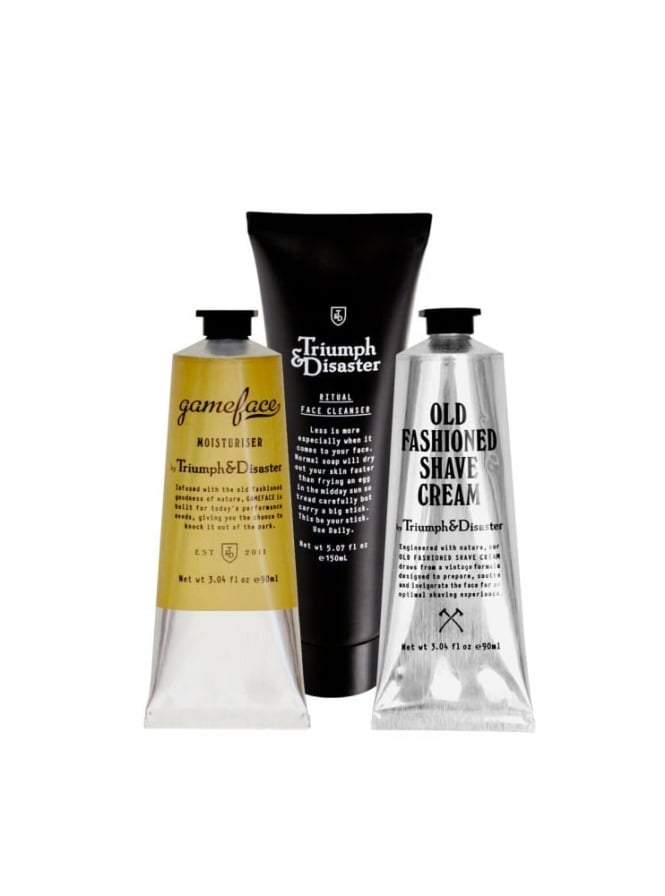Triumph and Disaster Essentials Kit Including Gameface Moisturiser, Ritual Face Cleanser and Old Fashioned Shave Cream.